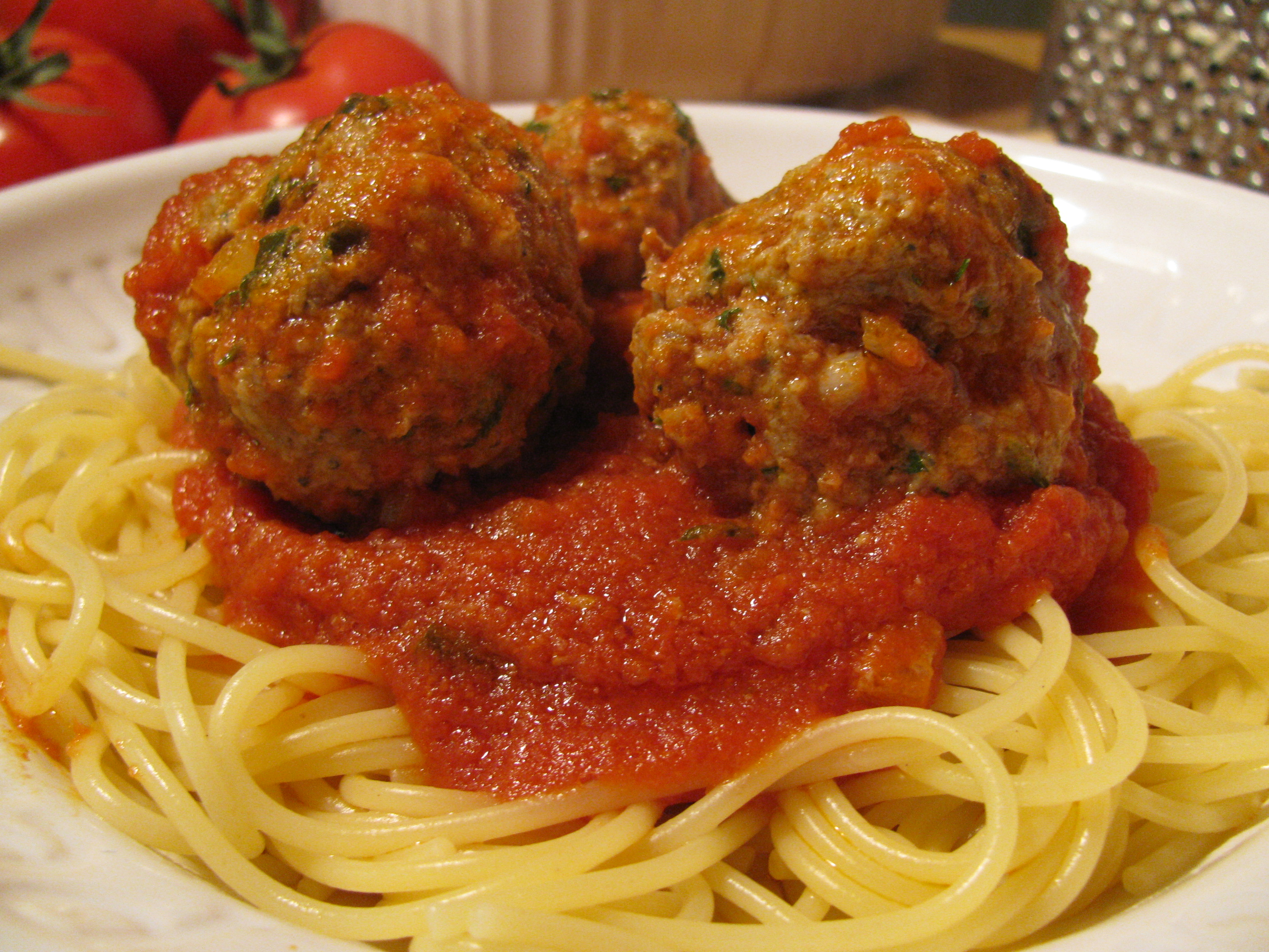 made spaghetti and meatballs this evening for dinner. The meatballs ...